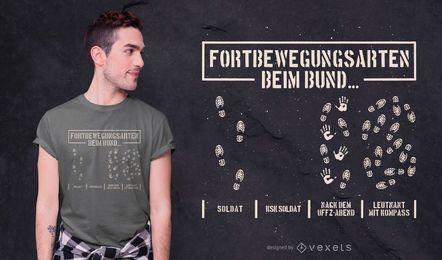 Projeto alemão do t-shirt das citações da pegada
