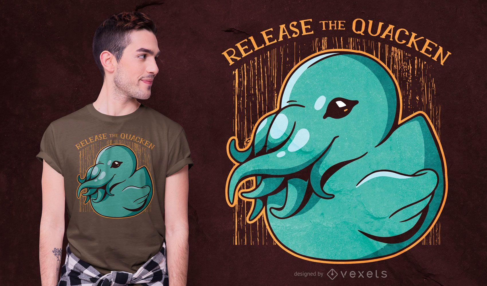 Design de t-shirt Kraken duck