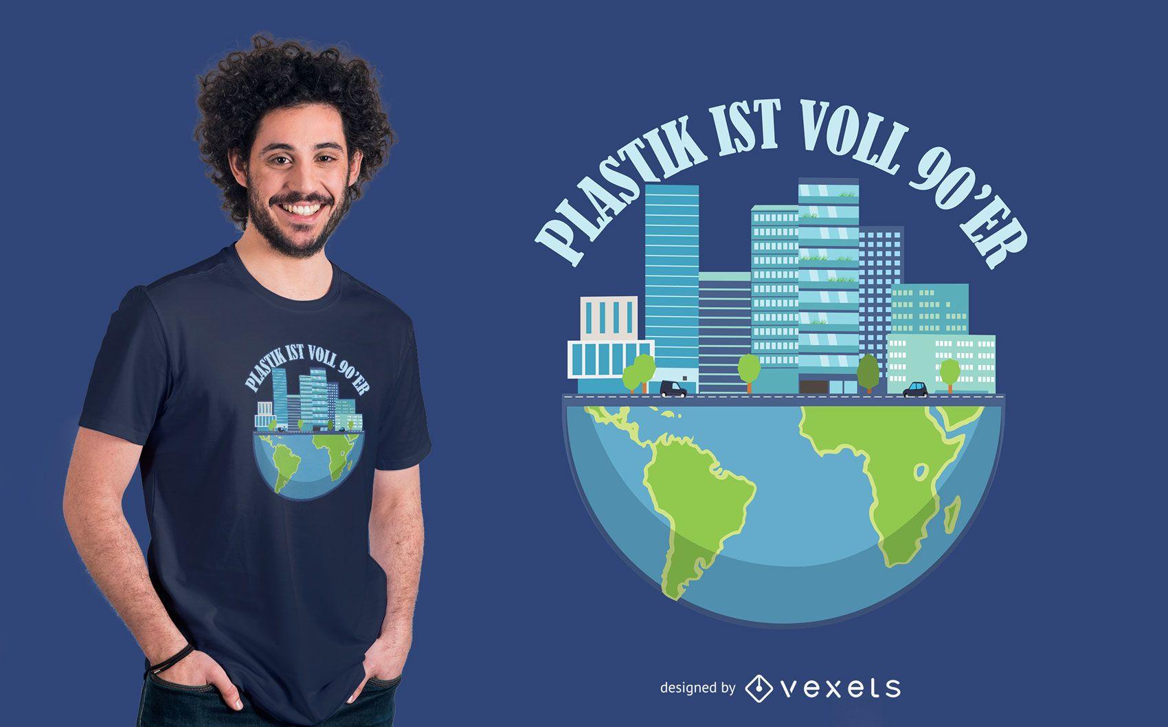 Diseño de camiseta de cita alemana de contaminación plástica