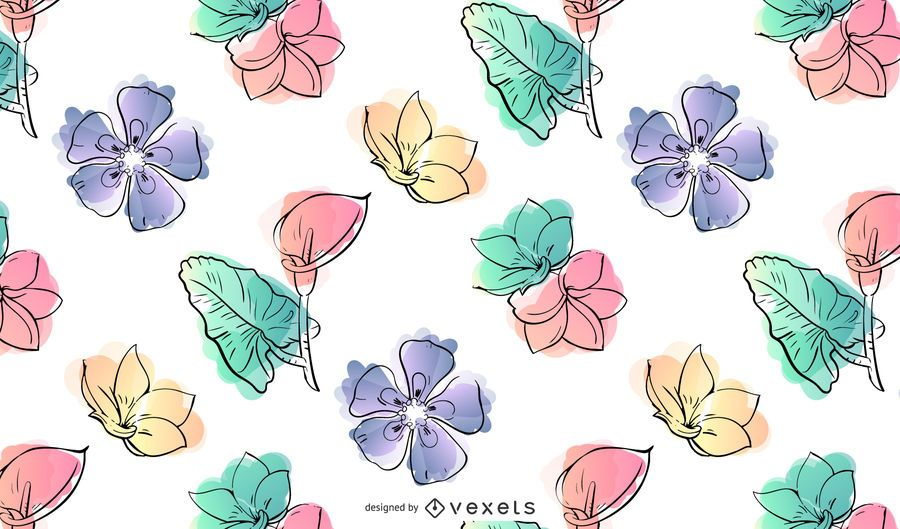 Watercolor Flower Pattern Design