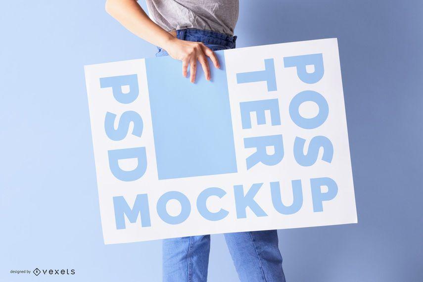 Model Holding Poster Psd Mockup