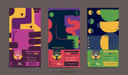 Conjunto de Design de rótulo de embalagem de café