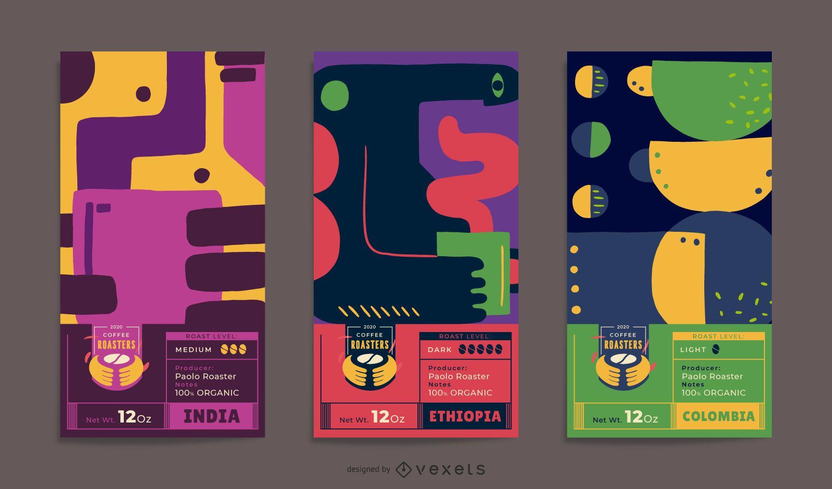 Conjunto de diseño de etiquetas de embalaje de café