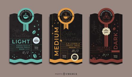 Conjunto de etiquetas de embalagens de café premium