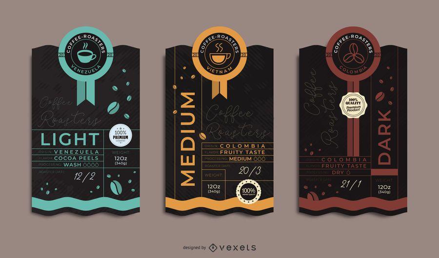 Conjunto de etiquetas de embalaje de café premium
