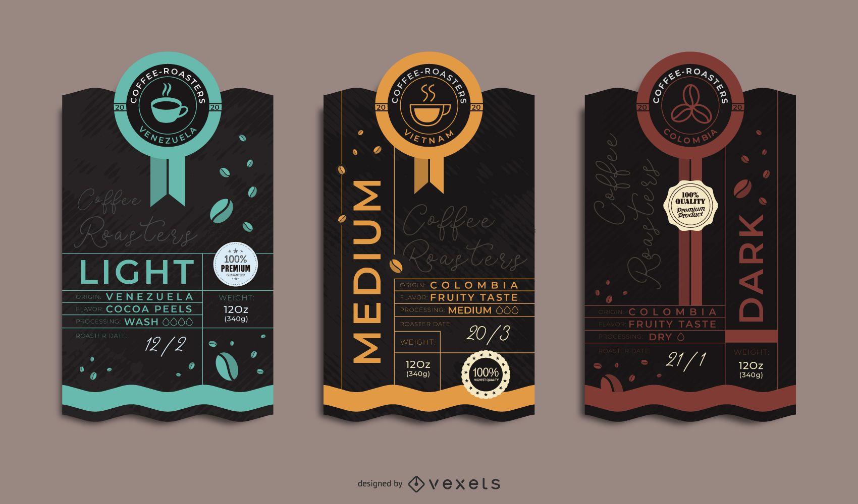 Premium-Kaffeeverpackungs-Etiketten-Set