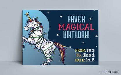 Unicorn birthday greeting card template