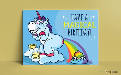 Unicorn greeting card template