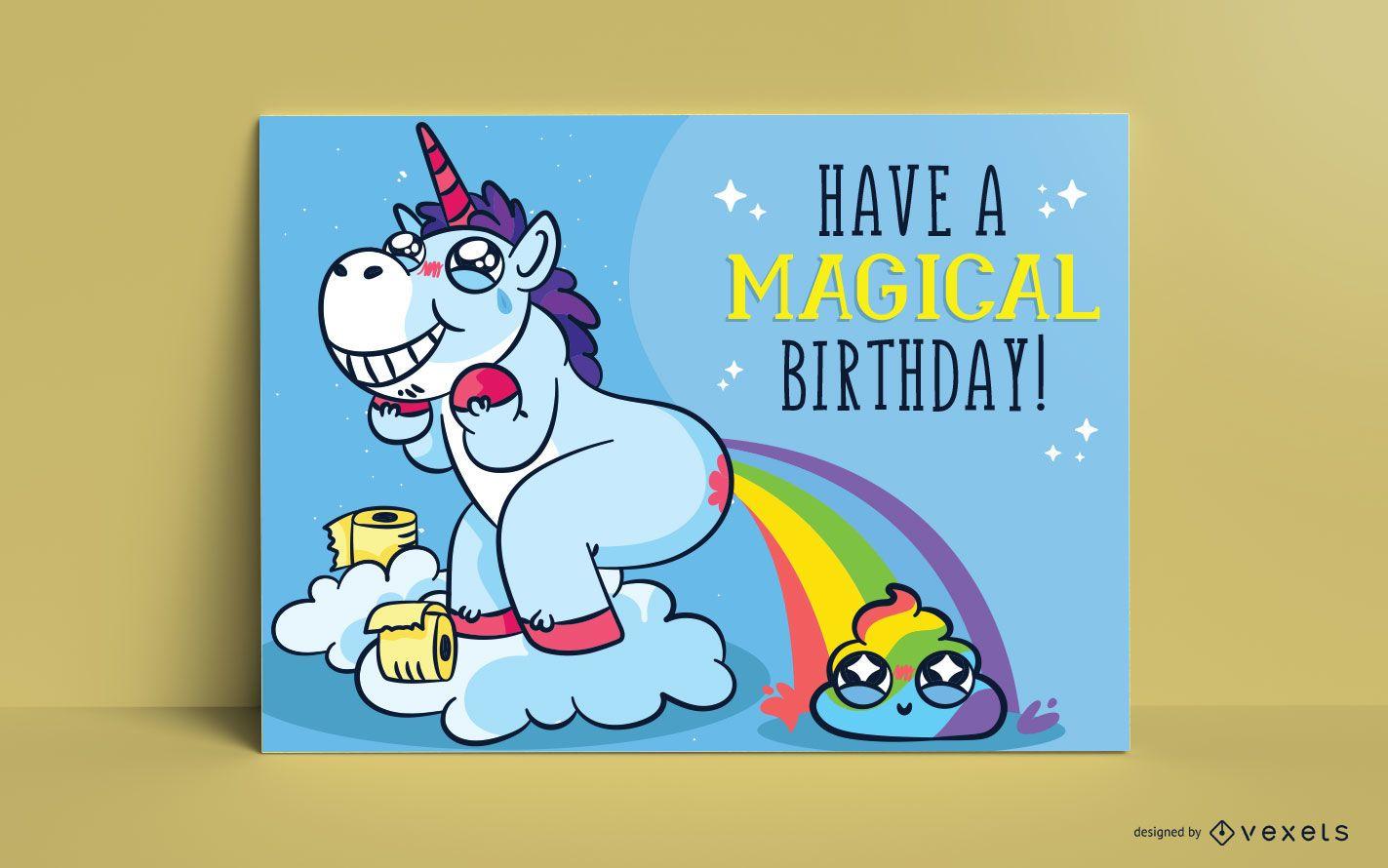Plantilla de tarjeta de felicitación de unicornio