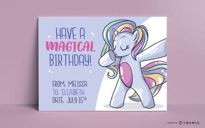 Unicorn bday greeting card template