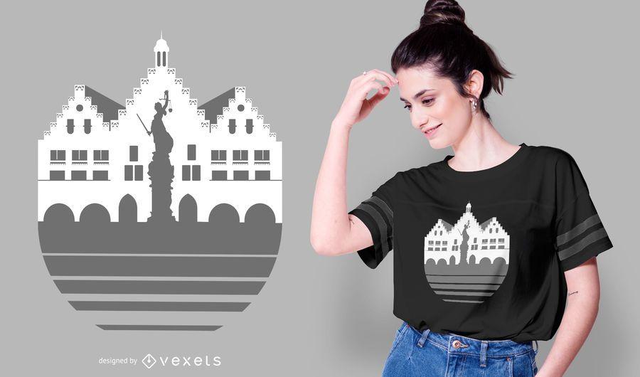 Frankfurt Skyline T-shirt Design