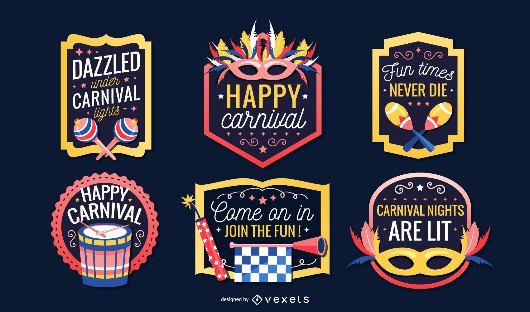 Carnival badges set