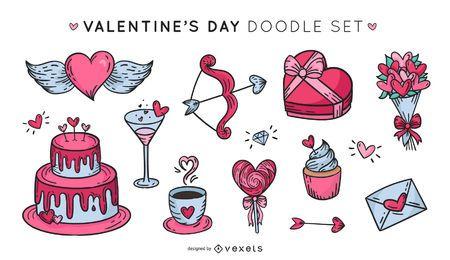 Valentinstag Elemente Gekritzelsatz