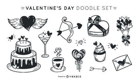 Valentinstag Gekritzelsatz