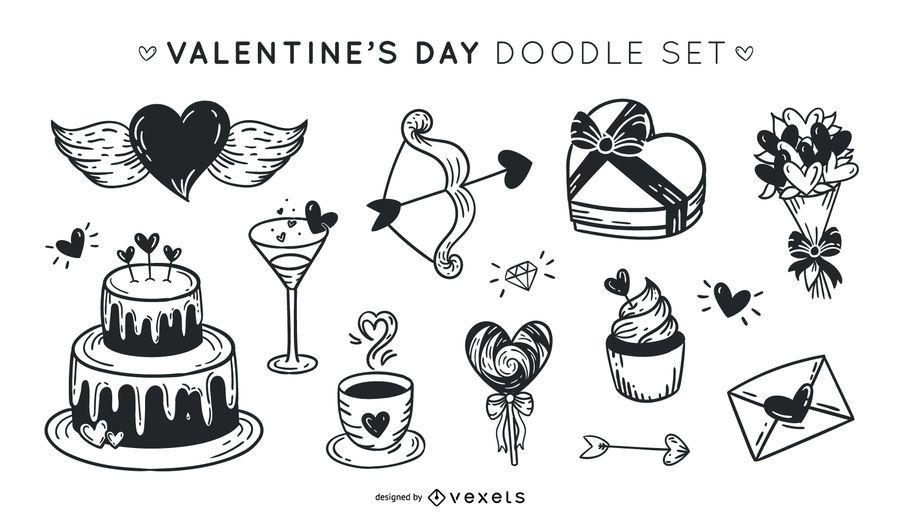 Conjunto De Desenhos De Dia Dos Namorados Baixar Vector