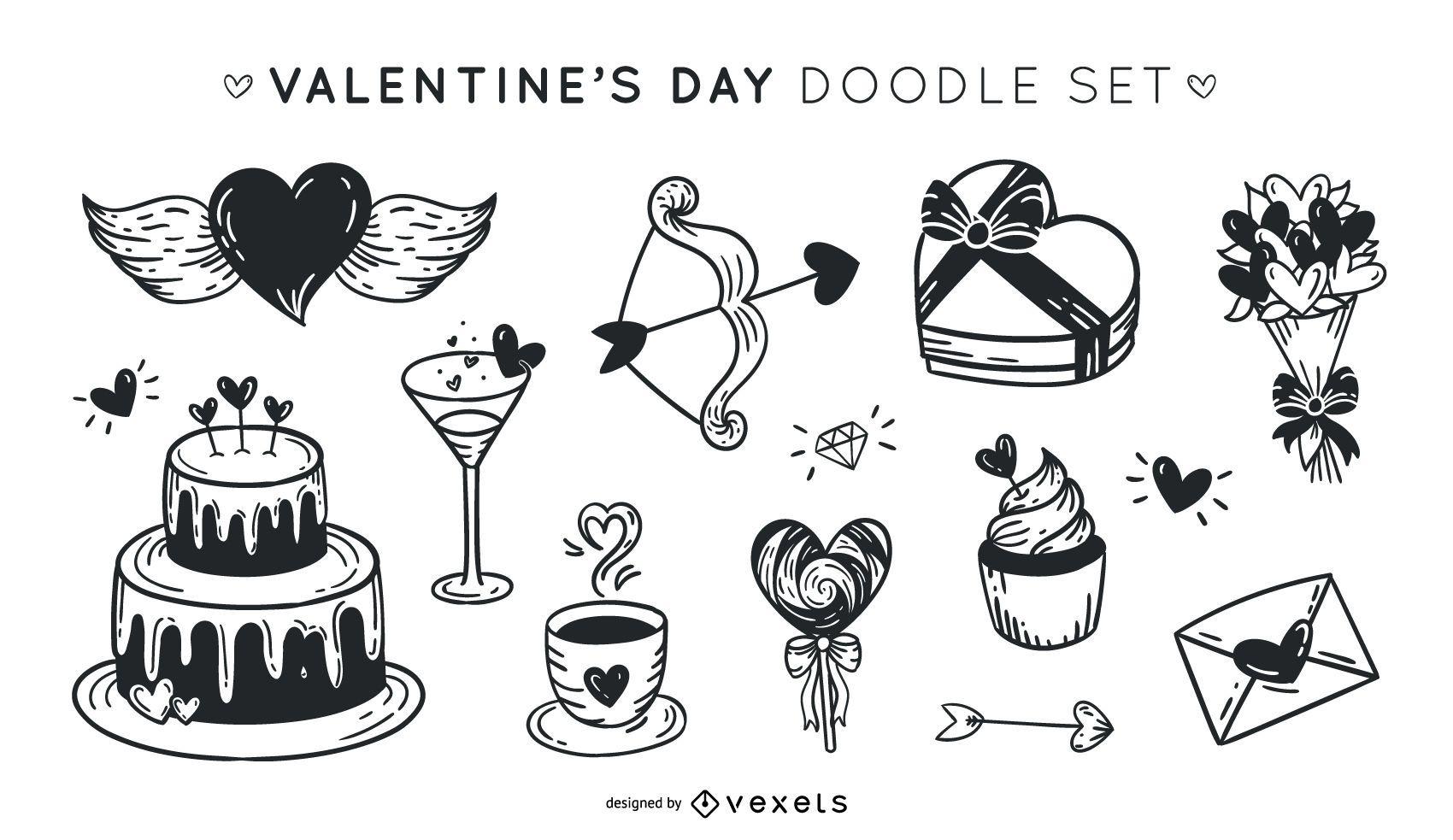 Valentine's day doodle set