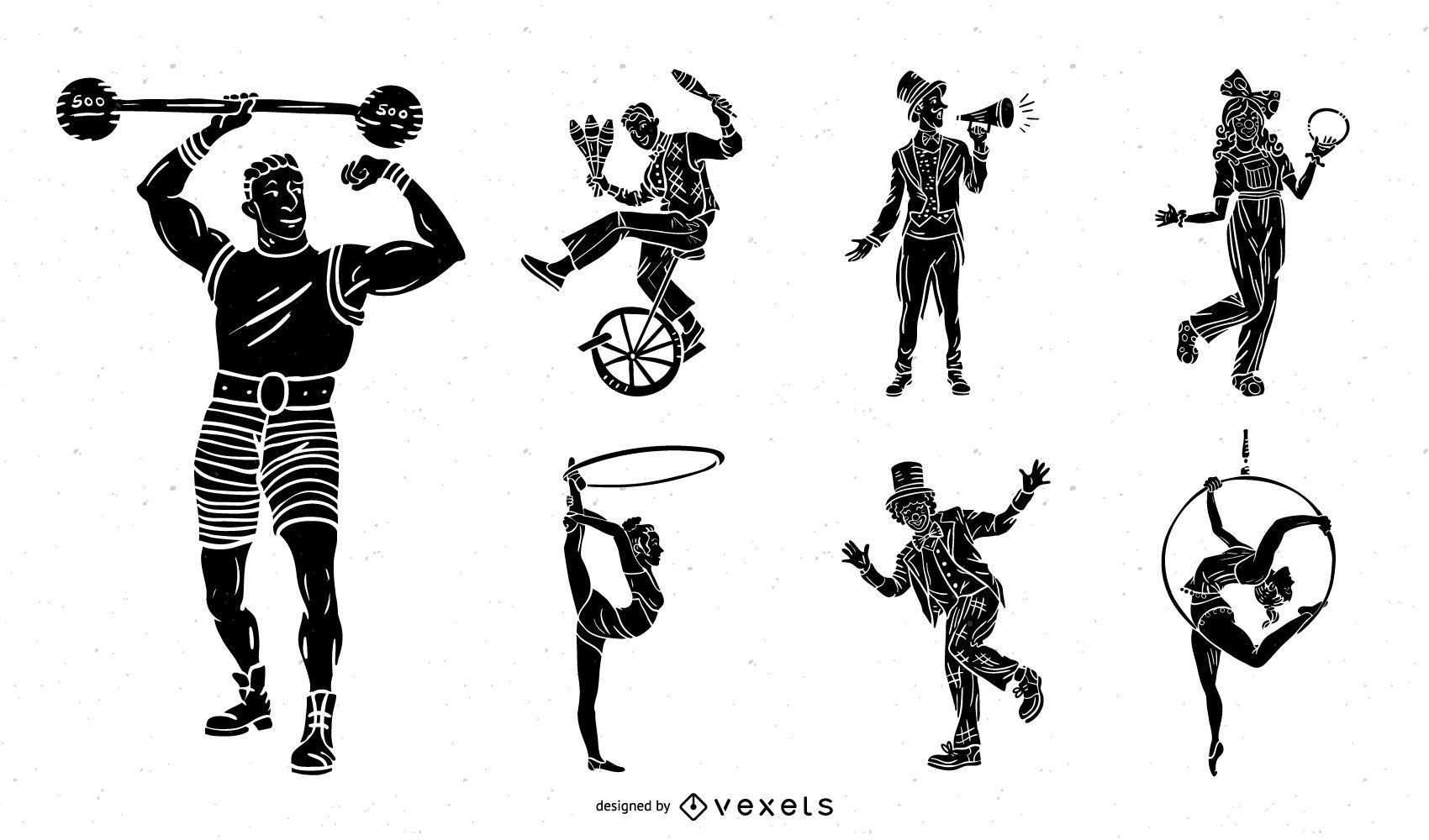 Conjunto preto vintage de personagens de circo