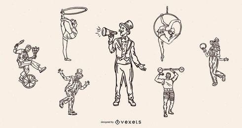 Conjunto de traço vintage de caracteres de circo