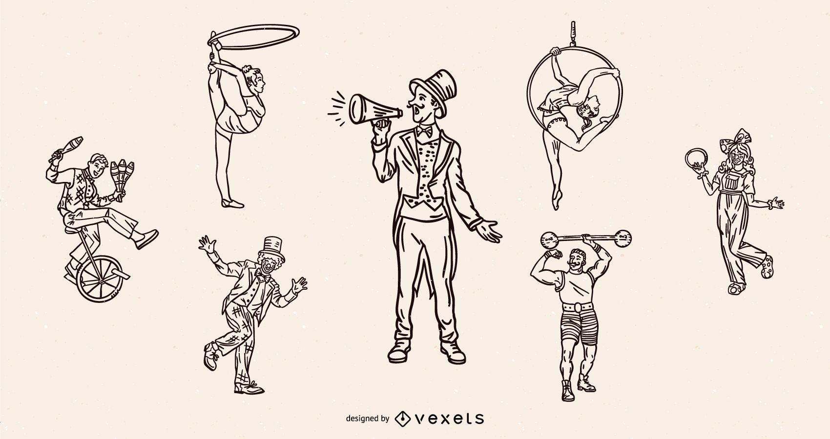 Circus characters vintage stroke set