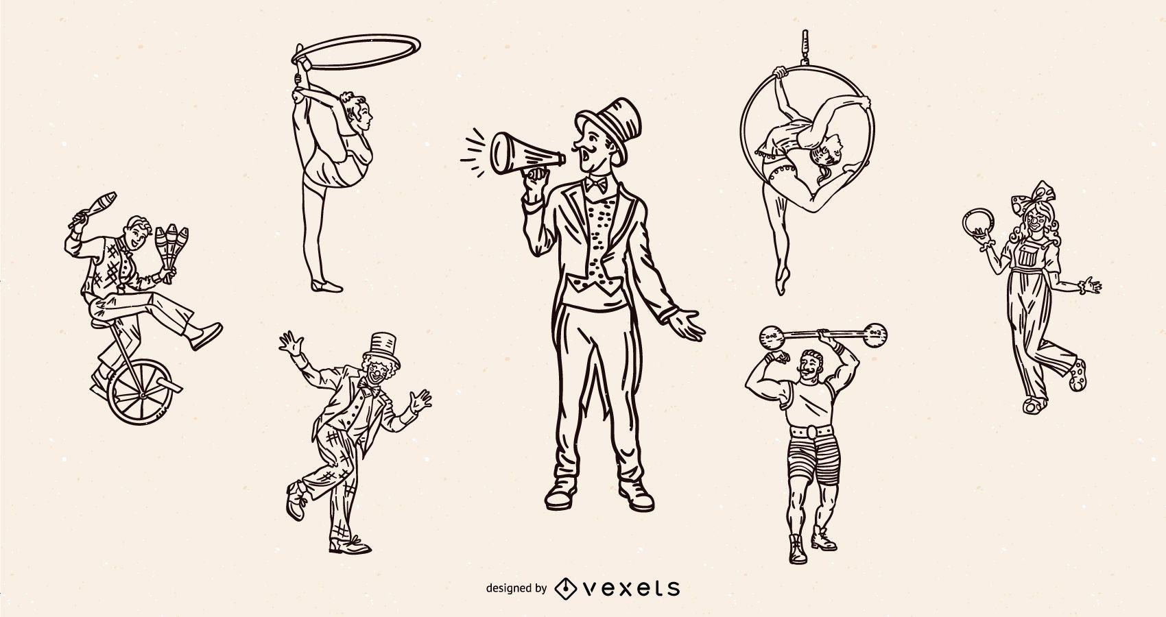 Conjunto de trazo vintage de personajes de circo