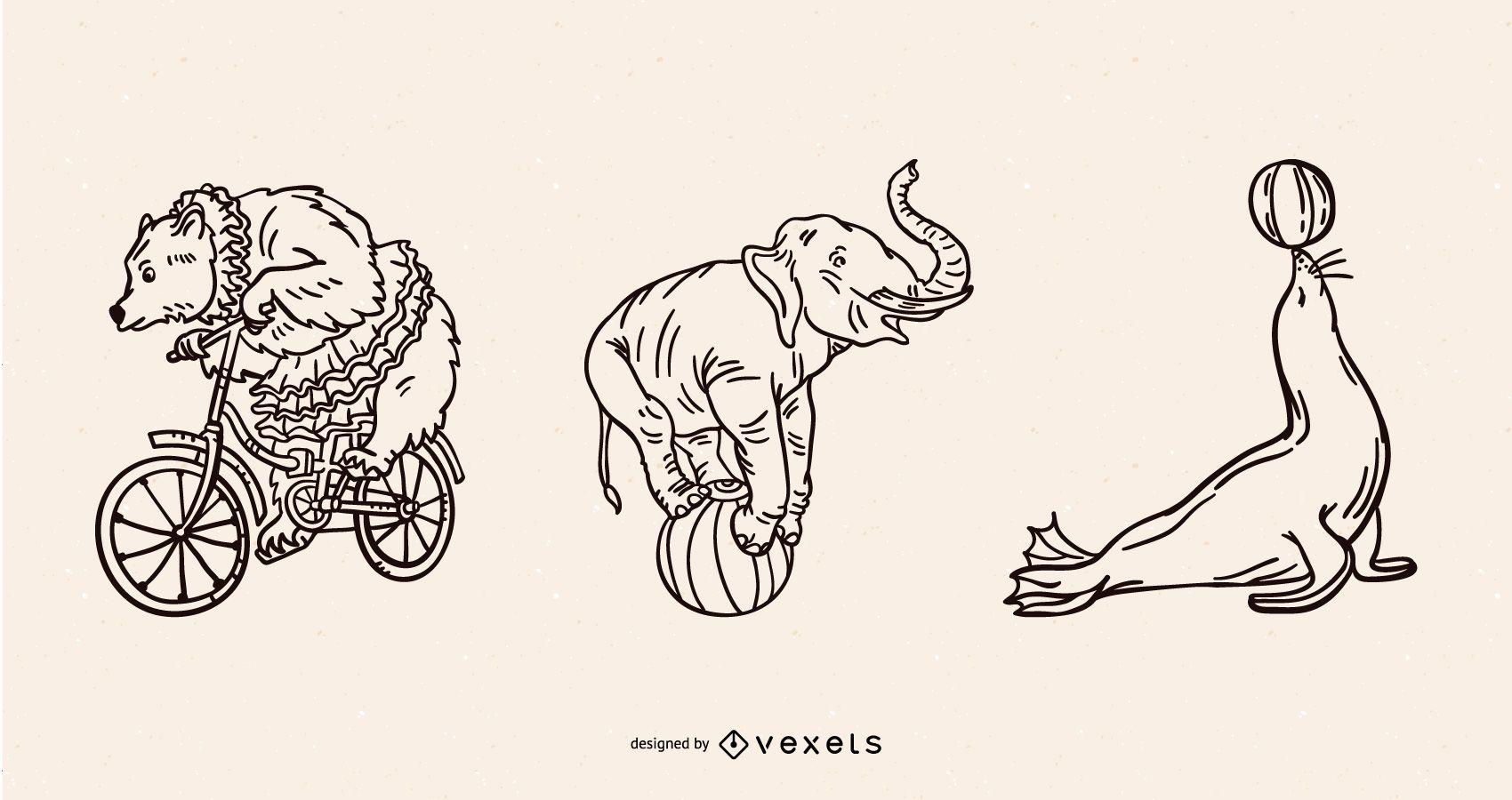Animais de circo acariciando conjunto vintage