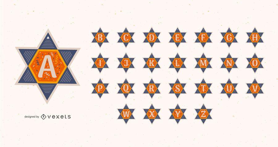 Conjunto de alfabeto de estrela de Davi