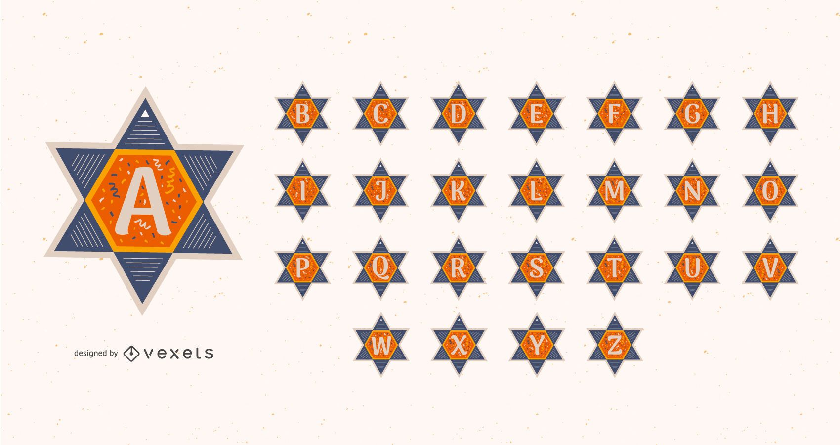 Conjunto de alfabeto de estrella de david