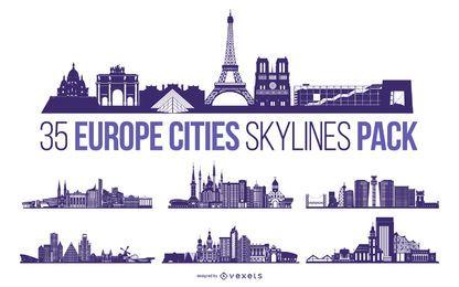 Paquete de diseño del horizonte de la ciudad de Europa