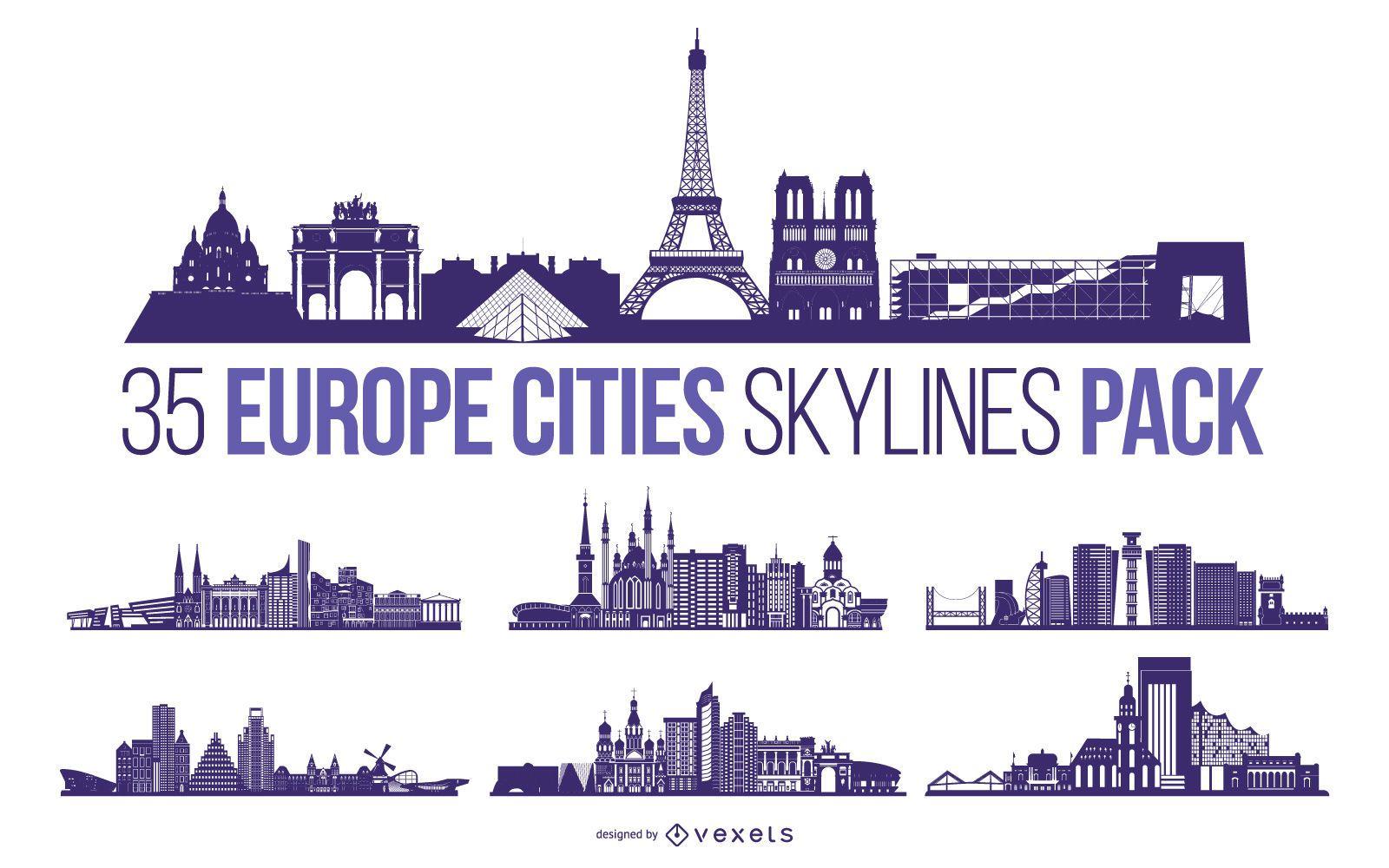 Europe City Skyline Design Pack