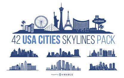 Paquete de diseño de Skyline de ciudades de EE. UU.