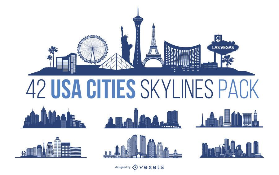 Pacote de design de skyline de cidades dos EUA