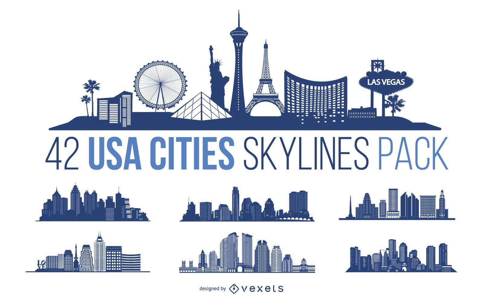 Pacote de design do horizonte das cidades dos EUA