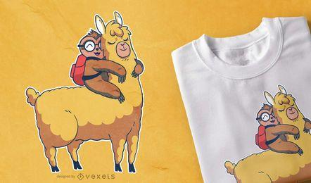 Nettes Faultier-Lama-T-Shirt Design