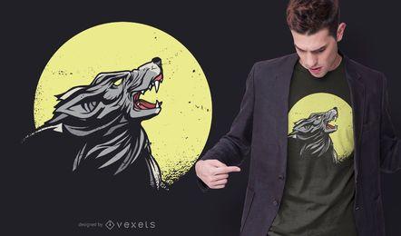 Diseño de camiseta de lobo aullador