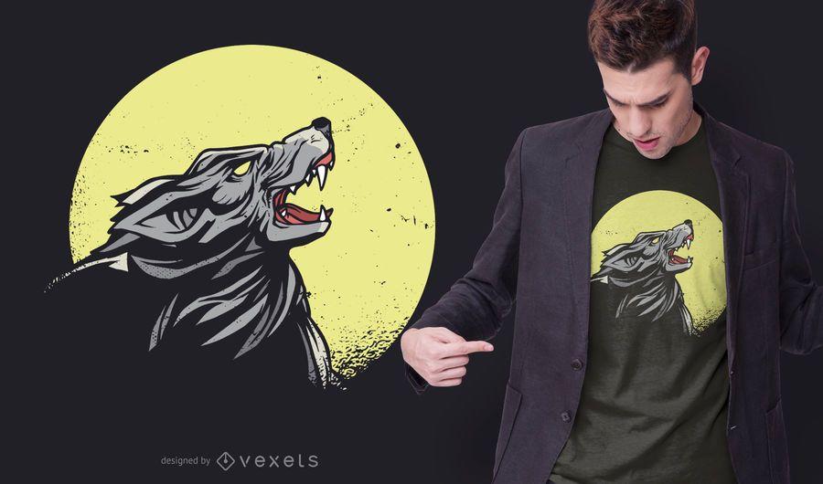 Design de t-shirt de lobo uivando