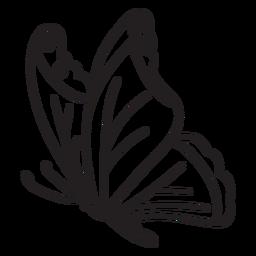 Vista lateral del trazo de mariposa