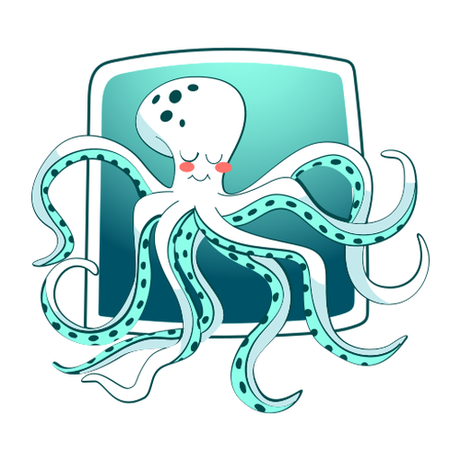 Sleeping octopus stylish Transparent PNG