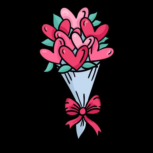 Buquê de corações bonito colorido Transparent PNG