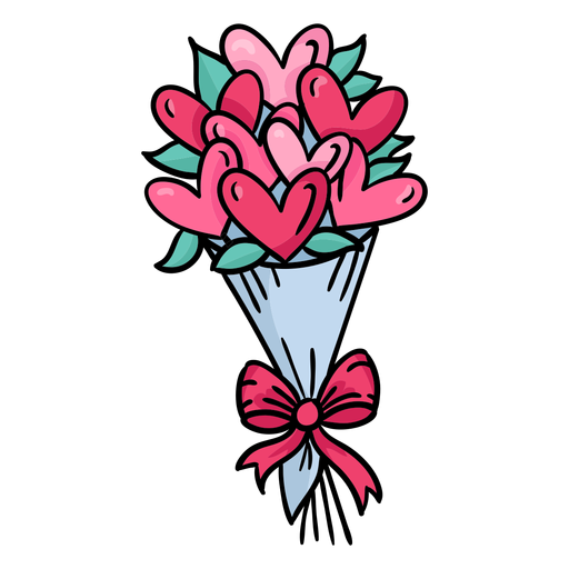 Hearts bouquet cute colored Transparent PNG