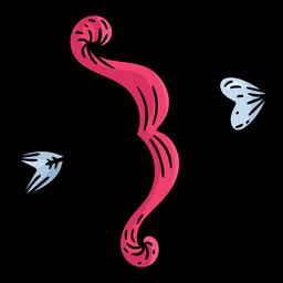 arco con corazón flecha de color