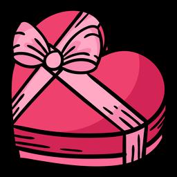 caja de chocolate corazón con cinta de color