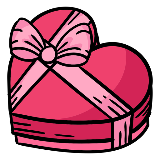 caixa de chocolate coração com fita colorida Transparent PNG