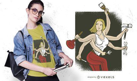 Design de camisetas para mulheres manuais