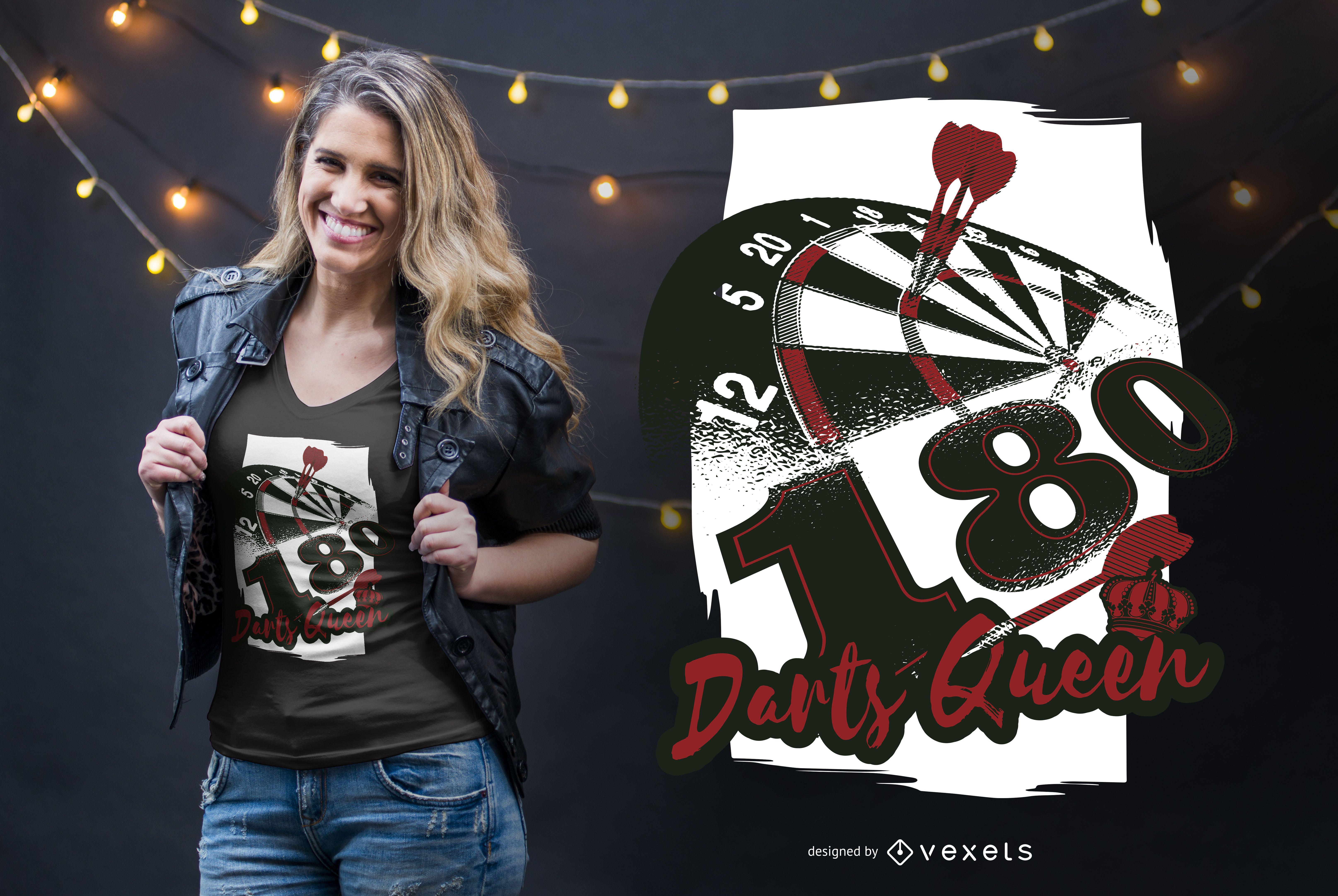 Diseño de camiseta Darts Queen