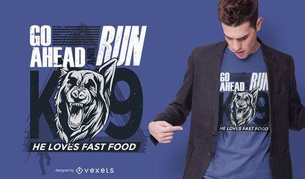 Design do t-shirt das citações do cão de polícia