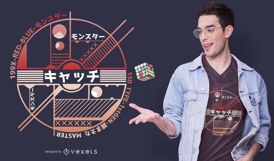 Diseño de camiseta Catch Ball Anime