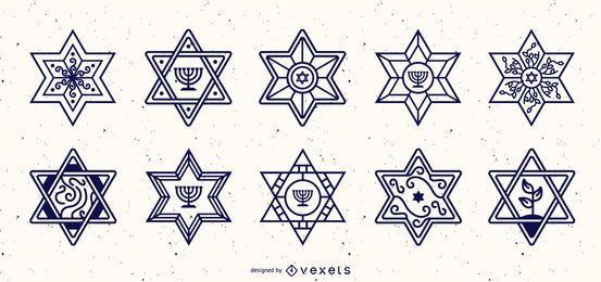 Coleção de Design de traço de estrela de David