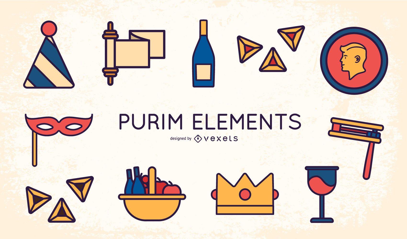 Purim Flat Design Element Pack