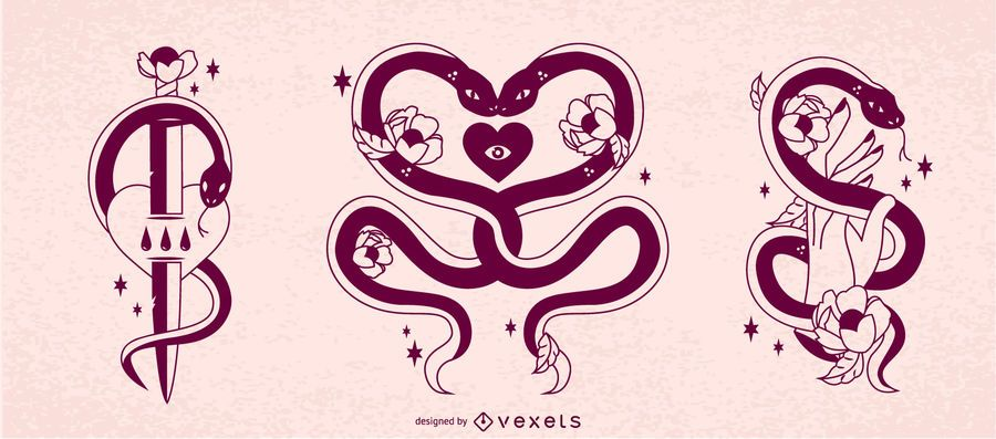Conjunto de diseño de serpientes contra San Valentín
