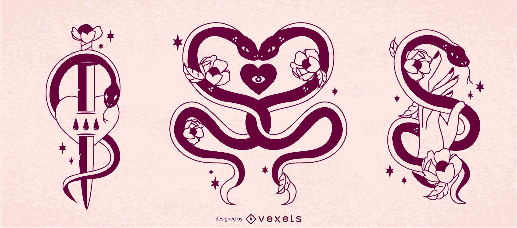 Anti Valentine's Snakes Design Set